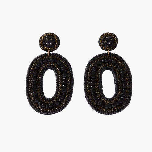 Boucles d'oreilles pendantes noires Velours glitter