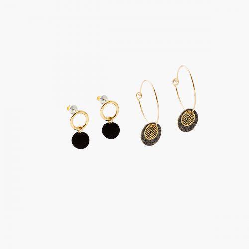 Set de boucles d'oreilles doré Velours glitter