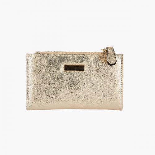 Portefeuille doré métallisé