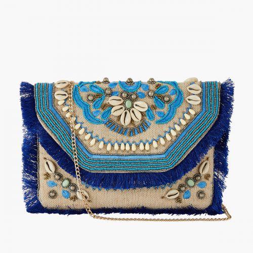 Pochette textile bleue à perles/coquillages
