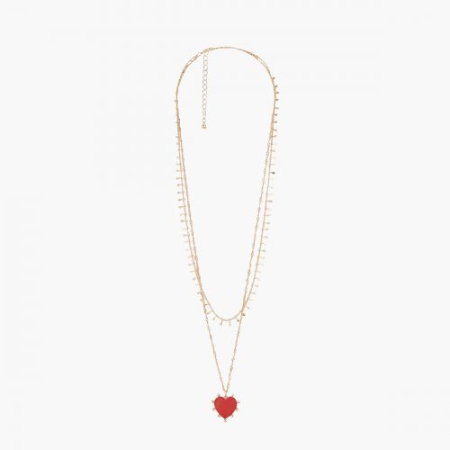 Collier Multirangs rouge Vintage spirit