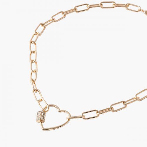Collier cadenas coeur doré Bar à chaines