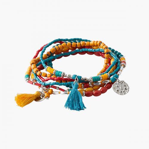 Set de bracelets jaune/rouge/bleu Silver Boho