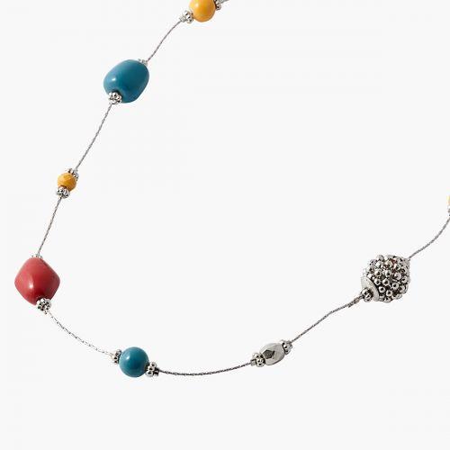 Sautoir perles multicolores Silver Boho