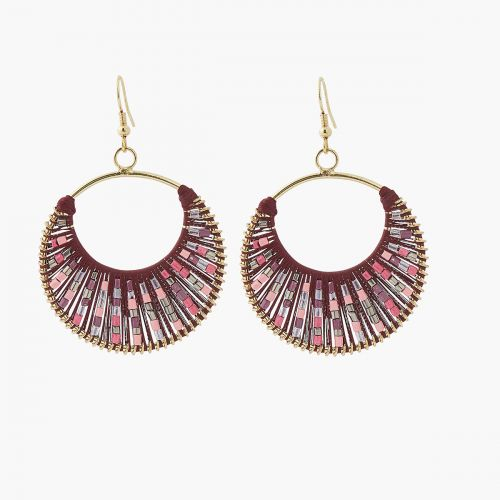 Boucles d'oreilles pendantes bordeaux City Blush