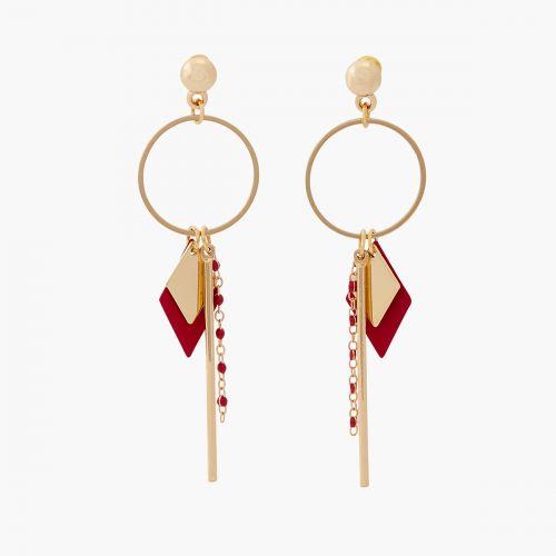Boucles d'oreilles pendantes rouges Résine
