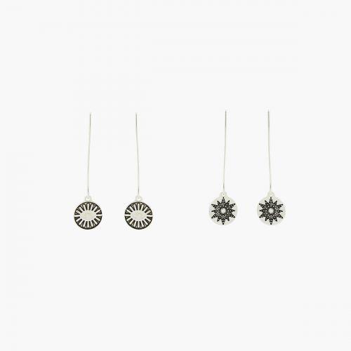 Set de boucles d'oreilles pendantes argenté Silver Boho
