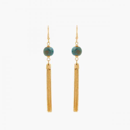 Boucles d'oreilles pendantes bleues Céramique