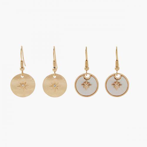 Set de boucles d'oreilles pendantes doré Mystic