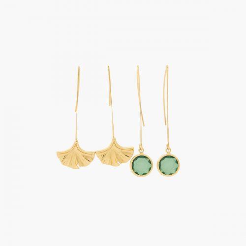 Set de boucles d'oreilles pendantes doré Gren