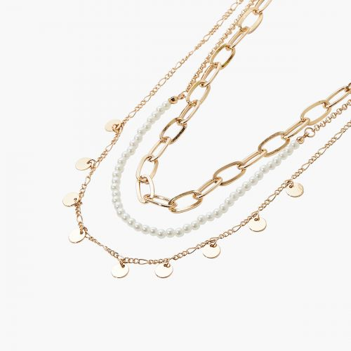 Collier Multirangs doré New Pearl