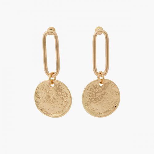 Boucles d'oreilles pendantes dorées Céramique