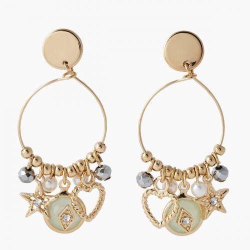 Boucles d'oreilles anneaux charms dorées Mystic