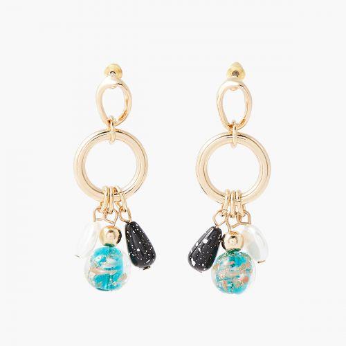 Boucles d'oreilles pendantes bleues Murano