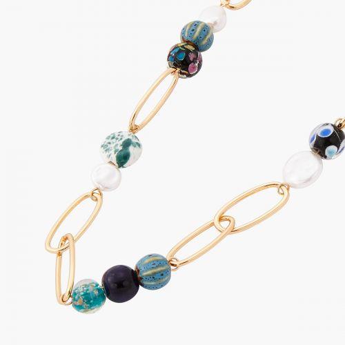 Sautoir doré perles Murano