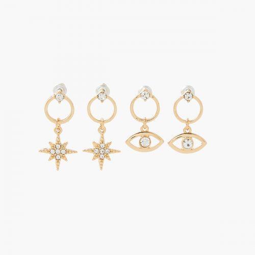 Set de puces d'oreilles doré Neo Precious
