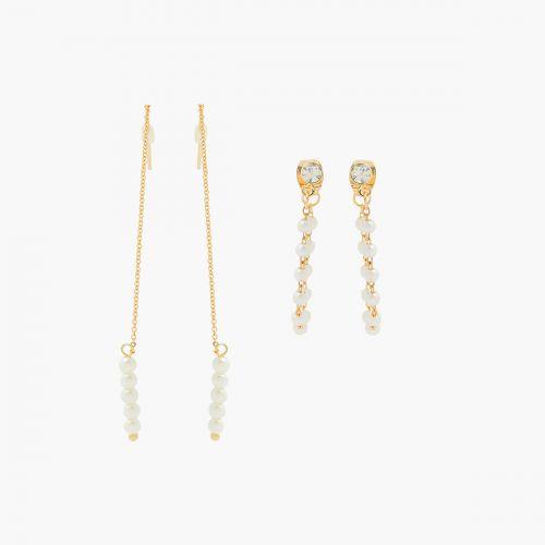 Set de boucles d'oreilles pendantes doré New Pearl