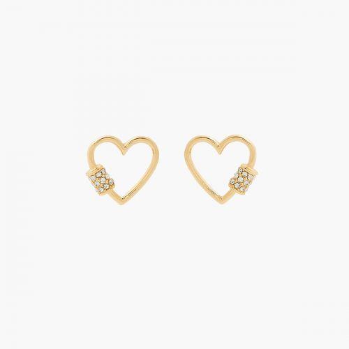 Boucles d'oreilles coeur dorées Bar à chaines