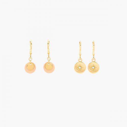 Set de 2 créoles médailles rose/doré Basic Nude