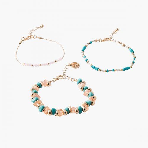 Set de bracelets perles bleues/roses Mystic