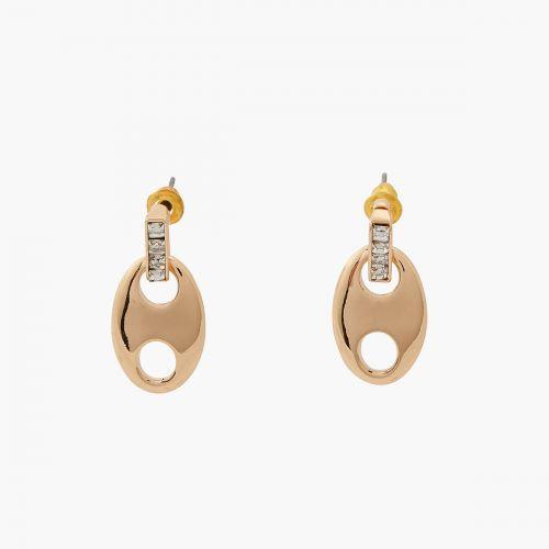 Boucles d'oreilles pendantes dorées Bar à chaines