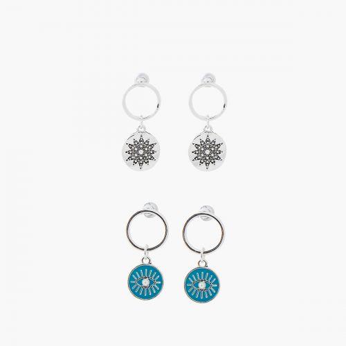Set de boucles d'oreilles pendantes turquoise Silver Boho