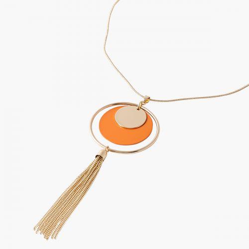 Sautoir disque orange et pompon Lima