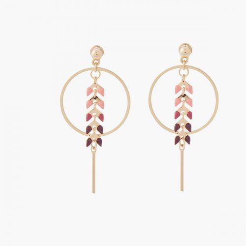 Boucles d'oreilles pendantes roses City Blush