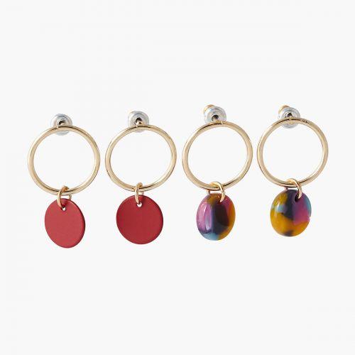 Set de boucles d'oreilles pendantes rouge Résine