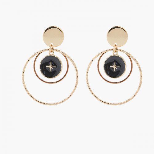 Boucles d'oreilles pendantes noires Celestial