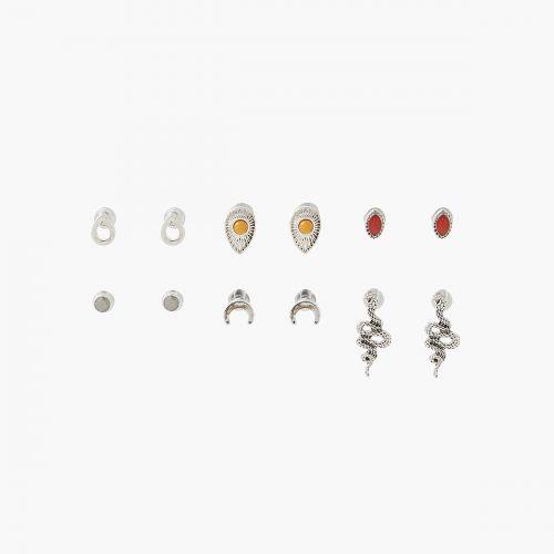Set de puces d'oreilles argenté Silver Boho