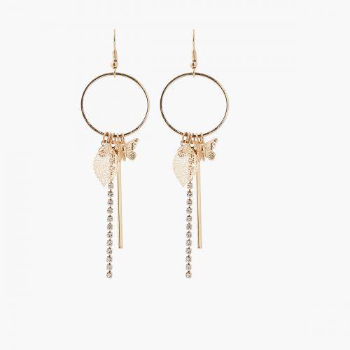 Boucles d'oreilles pendantes dorées Neo Precious