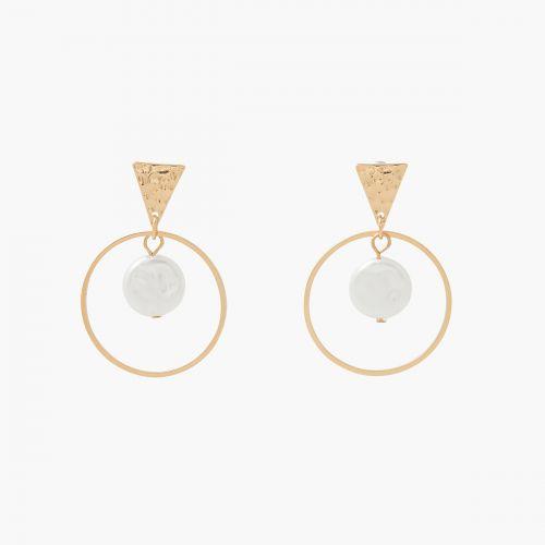 Boucles d'oreilles pendantes dorées New Pearl