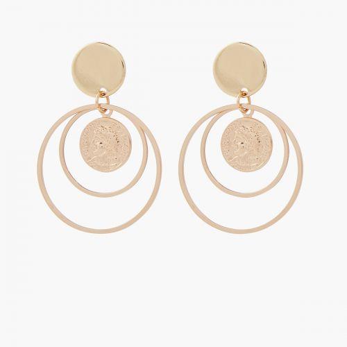 Boucles d'oreilles pendantes dorées Murano