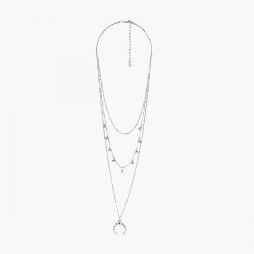 Collier Multirangs gris Silver Boho