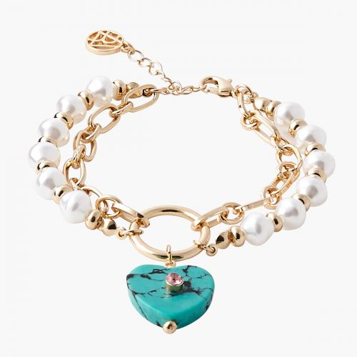 Bracelet 2 rangs coeur turquoise Capsule mode
