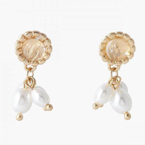 Boucles d'oreilles dorées perles d'imitation Capsule mode