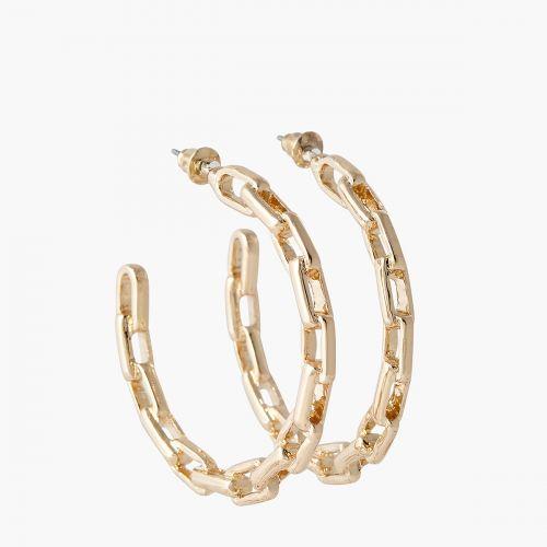 Boucles d'oreilles en maillon dorées Bar à chaines