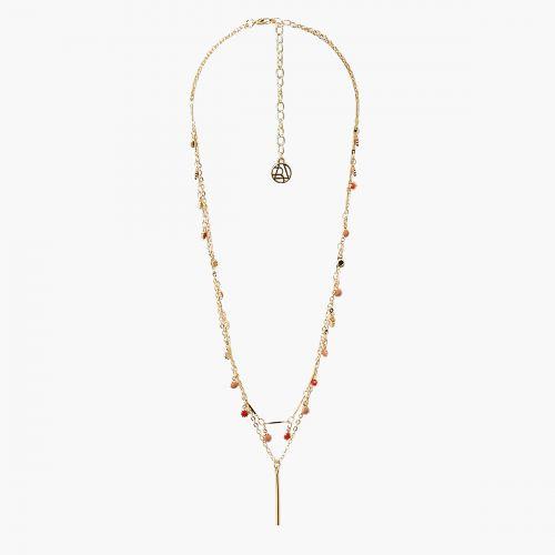 Collier 2 rangs perles rouges Monterey