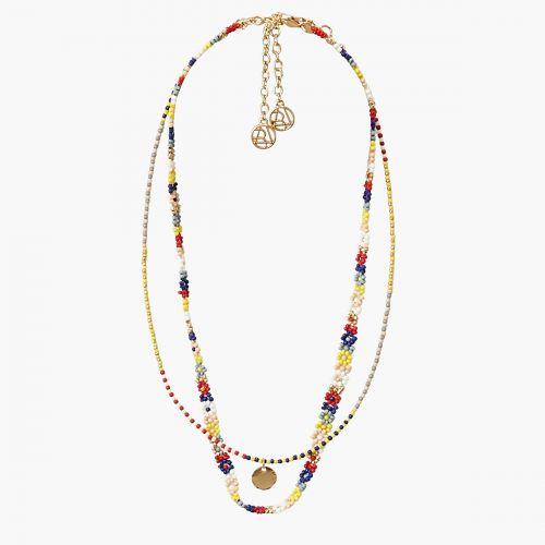 Collier 2 rangs perles multicolores Bohemian spirit