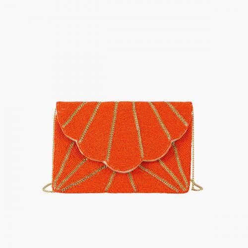 Pochette à perles orange