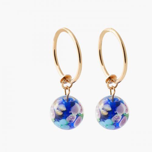 Clips d'oreilles perles bleues Bar à clips