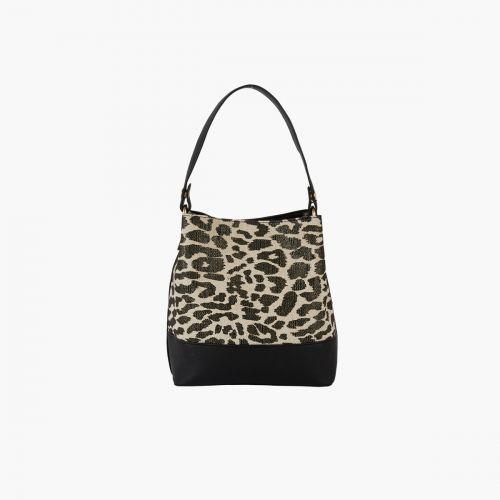 Sac seau bi-matière léopard
