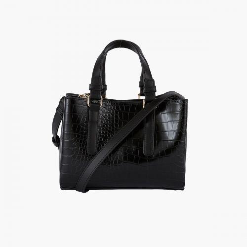 Petit sac cabas noir effet croco