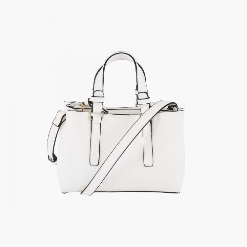 Petit sac cabas blanc effet croco