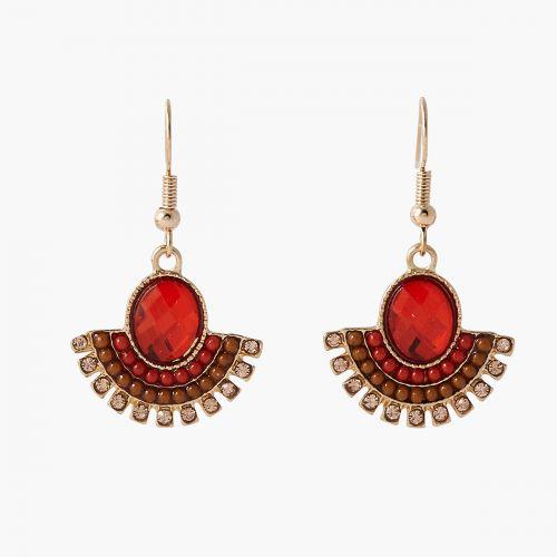 Boucles d'oreilles pendantes pierres rouges Monterey