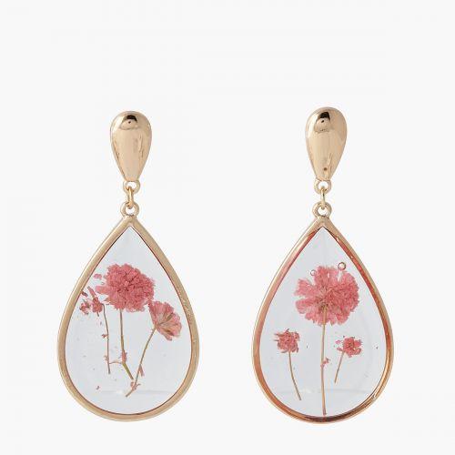 Boucles d'oreilles gouttes fleurs roses Prairie