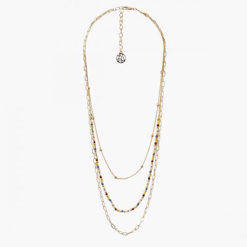 Collier multirangs perles multicolores Prairie