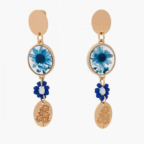 Boucles d'oreilles pendantes bleues Prairie