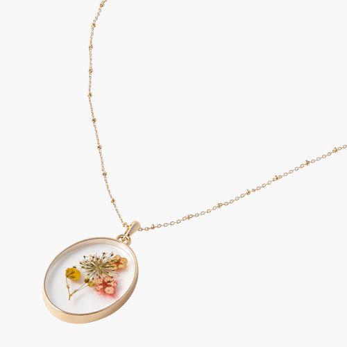 Sautoir fleur séchée rose Prairie